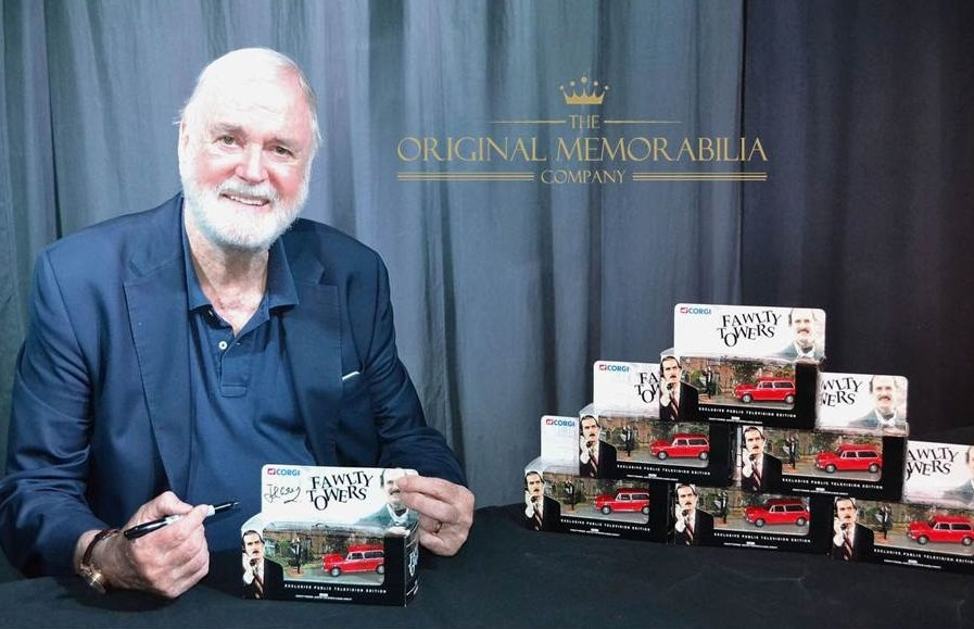 John Cleese signs Fawlty Towers Corgi Car